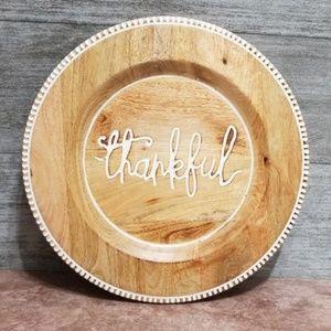 "Pier 1 Imports ""Thankful"" script wooden plate"